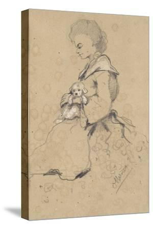 Women Holding a Small Dog, 1857 (Black and White Chalk on Paper)