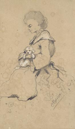 Women Holding a Small Dog, 1857 (Black and White Chalk on Paper) by Claude Monet