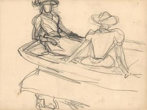 Young Girls on a Boat (Pencil on Paper) by Claude Monet