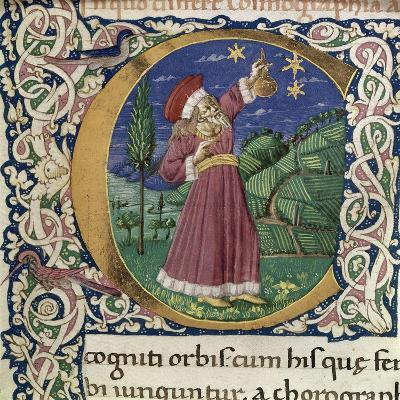 Claudius Ptolemy. Detail of a Historiated Initial C (Cosmographi), Second Half of the 15th C--Giclee Print