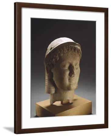 Clay Head, from Medma, Near Rosarno, Calabria, Italy, 6th and 5th Centuries BC--Framed Giclee Print