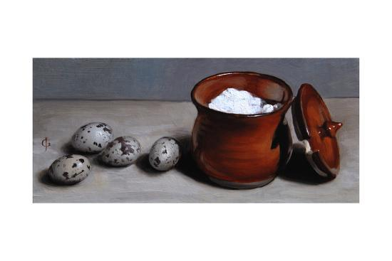 Clay Pot and Quail Eggs, 2008-James Gillick-Giclee Print