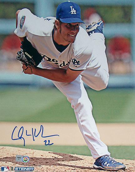 new styles 96768 094be Clayton Kershaw White Jersey Follow Thru Close Up Vertical Photo by    Art.com