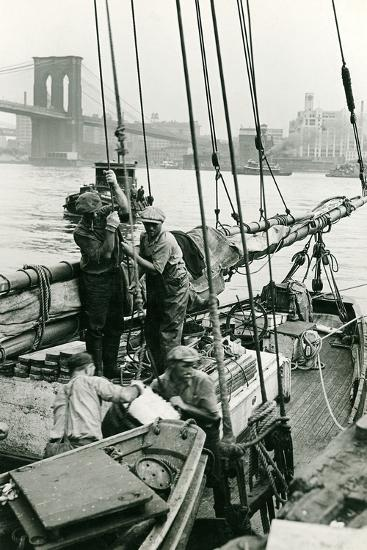 Cleaning Out the Old Ice at Fulton Fish Market-P.L. Sperr-Photographic Print