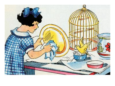 Cleaning the Birdcage-Julia Letheld Hahn-Art Print