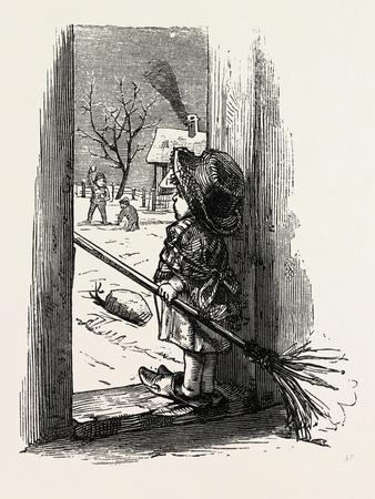 Cleaning the Doorstep, Child, 1882--Giclee Print