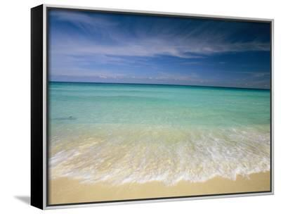 Clear Blue Water and Wispy Clouds Along the Beach at Cancun-Michael Melford-Framed Canvas Print