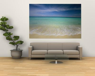 Clear Blue Water and Wispy Clouds Along the Beach at Cancun-Michael Melford-Giant Art Print
