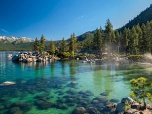 Clear Emerald Water with Rocks, Pine Trees and Mountains at Sand Harbor Sp, Lake Tahoe, Nevada