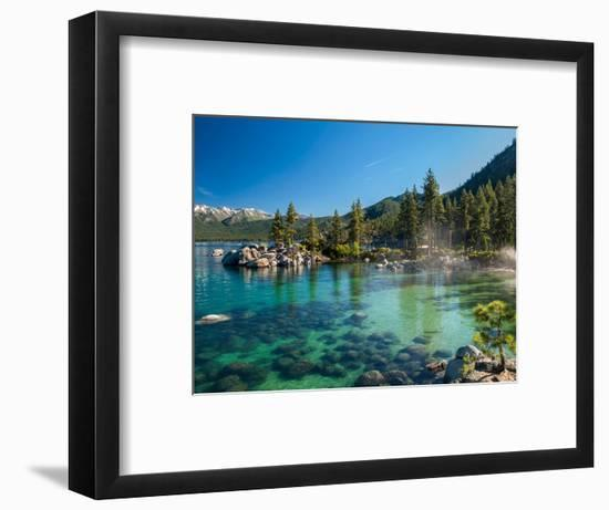 Clear Emerald Water with Rocks, Pine Trees and Mountains at Sand Harbor Sp, Lake Tahoe, Nevada--Framed Photographic Print