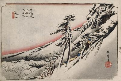 Clear Weather after Snow, Kameyama', from the Series 'The Fifty-Three Stations of the Tokaido'-Utagawa Hiroshige-Giclee Print