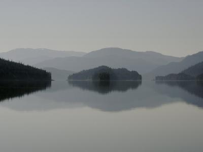 Clearing fog hangs above islands and scenery-Melissa Farlow-Photographic Print