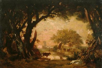 Clearing in the Woods of Fontainebleau-Th?odore Rousseau-Giclee Print
