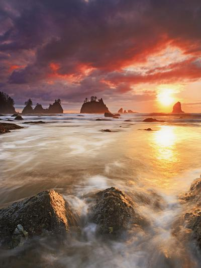 Clearing Storm and a Winter Sunset at Point of the Arches, Olympic National Park, Washington, USA-Geoffrey Schmid-Photographic Print