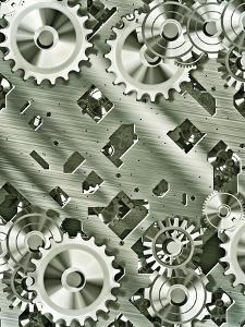 Illustration Of Steampunk Inspired Cogs And Clockwork by clearviewstock
