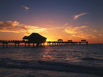 Clearwater Beach and Pier at Sunset, Florida, USA-Adam Jones-Photographic Print