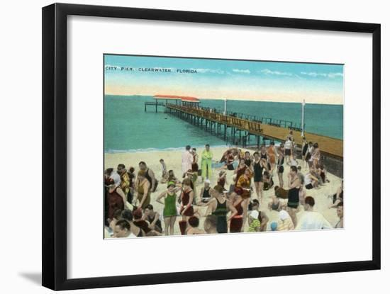 Clearwater, Florida - View of City Pier from Beach-Lantern Press-Framed Art Print