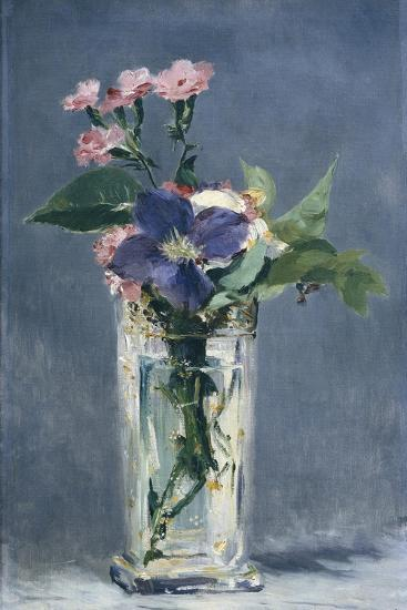 Clematis in a Crystal Vase-Edouard Manet-Art Print