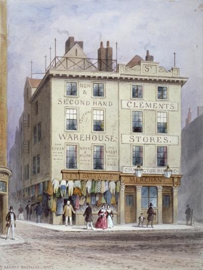 Clement's Stores at the Junction of Holywell Street and Wych Street, Westminster, London, 1855-Thomas Hosmer Shepherd-Giclee Print