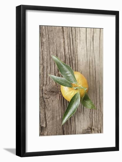 Clementine with Leaves on Wood-Nikky-Framed Photographic Print