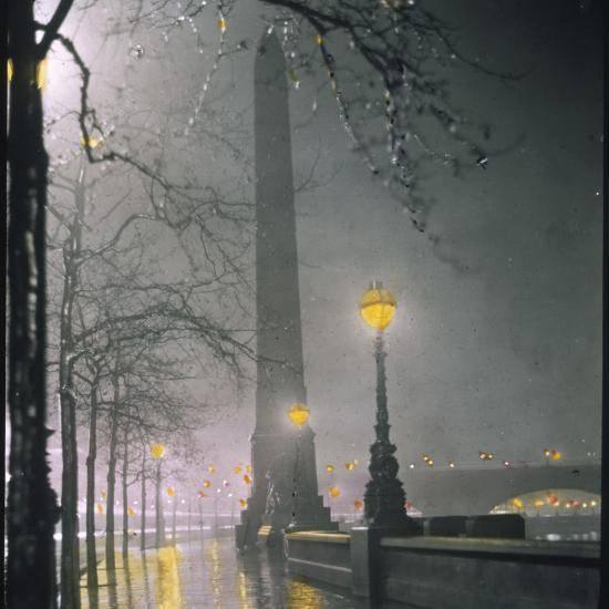 Cleopatra's Needle on the Embankment by Night--Photographic Print