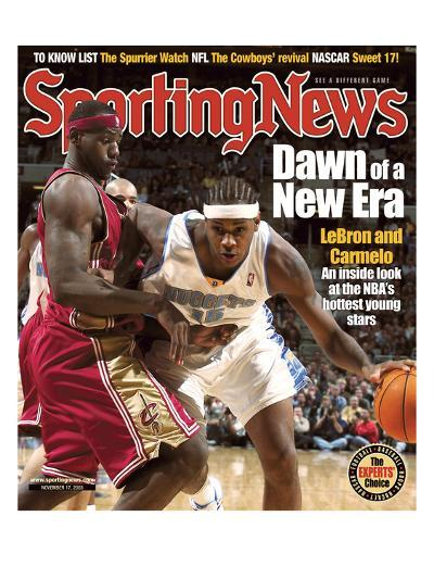 Cleveland Cavaliers' LeBron James and Denver Nuggets' Carmelo Anthony - November 17, 2003--Photo