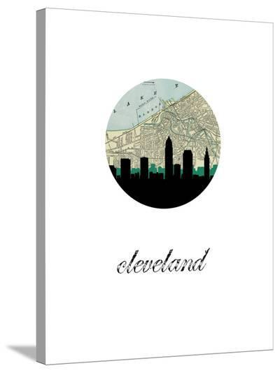 Cleveland Map Skyline-Paperfinch 0-Stretched Canvas Print