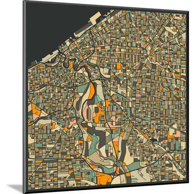 Cleveland Map-Jazzberry Blue-Mounted Print