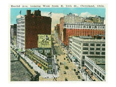 Cleveland, Ohio - Euclid Avenue West from 14th Street East-Lantern Press-Art Print