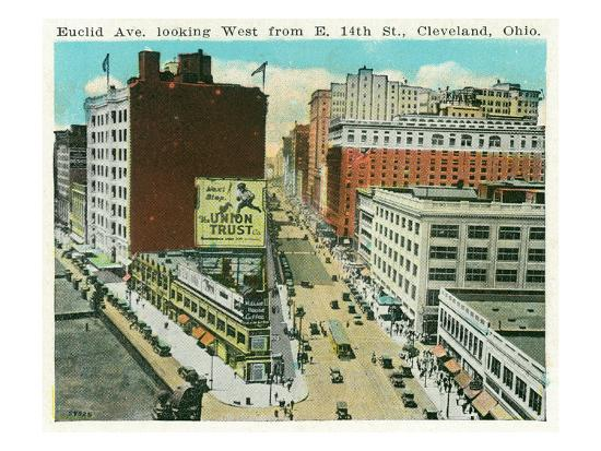 Cleveland, Ohio - Euclid Avenue West from 14th Street East-Lantern Press-Art Print