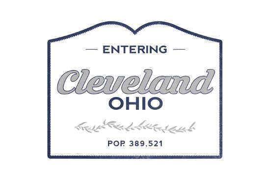 Cleveland, Ohio - Now Entering (Blue)-Lantern Press-Art Print