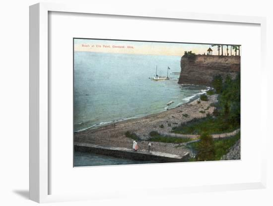 Cleveland, Ohio, Overhead View of the Ells Point Beach-Lantern Press-Framed Art Print