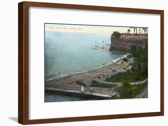 Cleveland, Ohio, Overhead View of the Ells Point Beach-Lantern Press-Framed Art Print