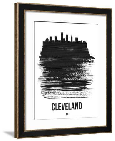 Cleveland Skyline Brush Stroke - Black-NaxArt-Framed Art Print