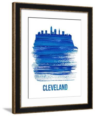 Cleveland Skyline Brush Stroke - Blue-NaxArt-Framed Art Print