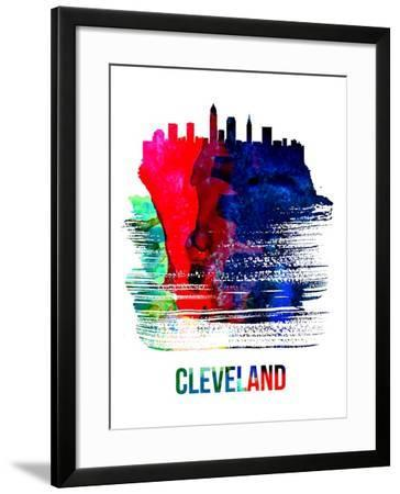 Cleveland Skyline Brush Stroke - Watercolor-NaxArt-Framed Art Print
