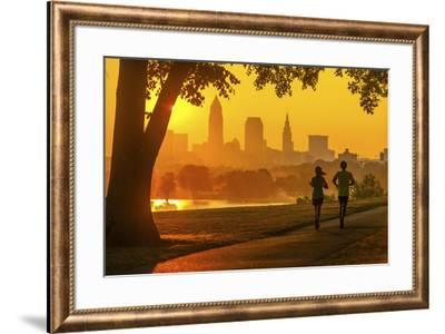 Cleveland skyline from Edgewater Park  at sunrise, Ohio, USA.-Richard T Nowitz-Framed Photographic Print