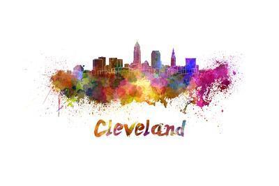 Cleveland Skyline in Watercolor-paulrommer-Art Print