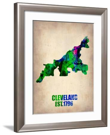 Cleveland Watercolor Map-NaxArt-Framed Art Print