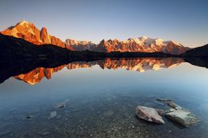 Alpine Lake with Mount Blanc Massif in the Sunset, Chamonix by ClickAlps