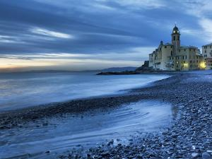 Camogli,Genoa,Ligurian,Italy,Europe. the Last Lights of the Evening over Camogli Town by ClickAlps