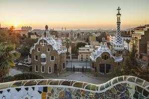 Park Guell with city skyline behind at sunrise, Barcelona, Catalonia, Spain by ClickAlps