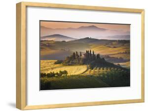 Podere Belvedere, San Quirico D'Orcia, Tuscany, Italy. Sunrise over the Farmhouse and the Hills. by ClickAlps