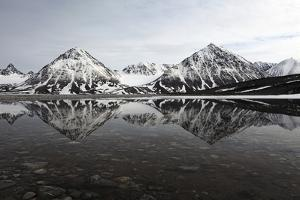 Spitsbergen, Svalbard, Norway. Mountains Reflecting on a Lagoon in Northern Spitsbergen by ClickAlps