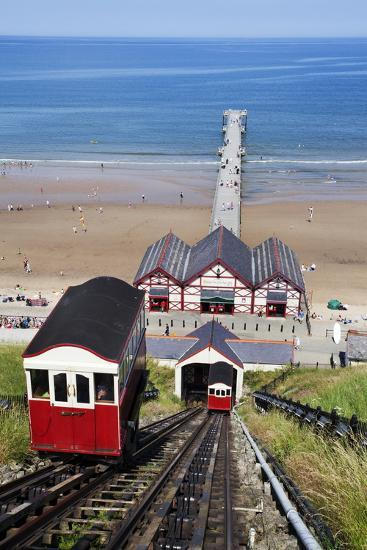 Cliff Tramway and the Pier at Saltburn by the Sea-Mark Sunderland-Photographic Print