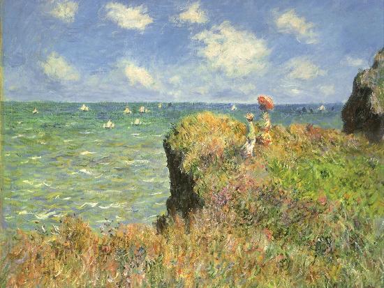 Cliff Walk at Pourville, 1882-Claude Monet-Premium Giclee Print