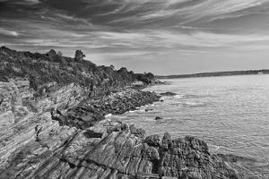 Cliff Walk Newport Rhode Island B/W