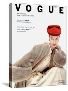 Vogue Cover - November 1951 - Red Hat, Fur Coat by Clifford Coffin