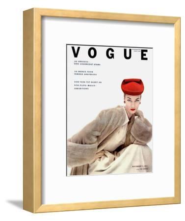Vogue Cover - November 1951 - Red Hat, Fur Coat