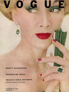 Vogue Cover - October 1951 by Clifford Coffin